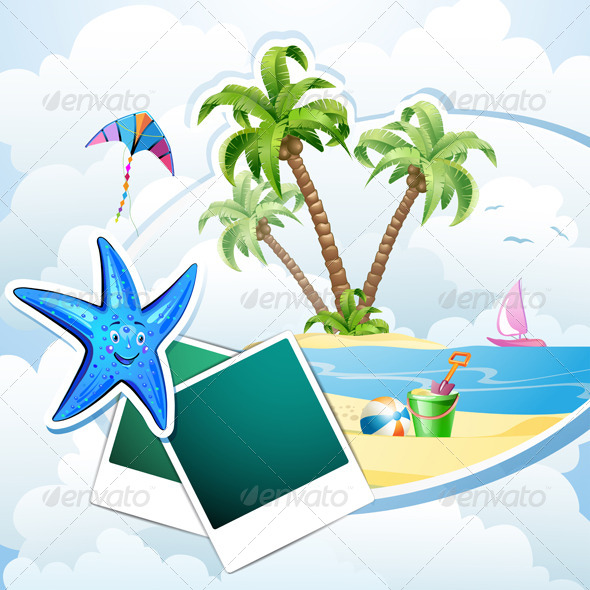 GraphicRiver Summer Beach with Palm Trees 5292838