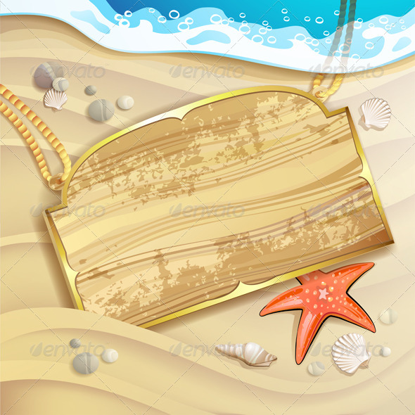 GraphicRiver Wood Banner over Sand Beach 5292874