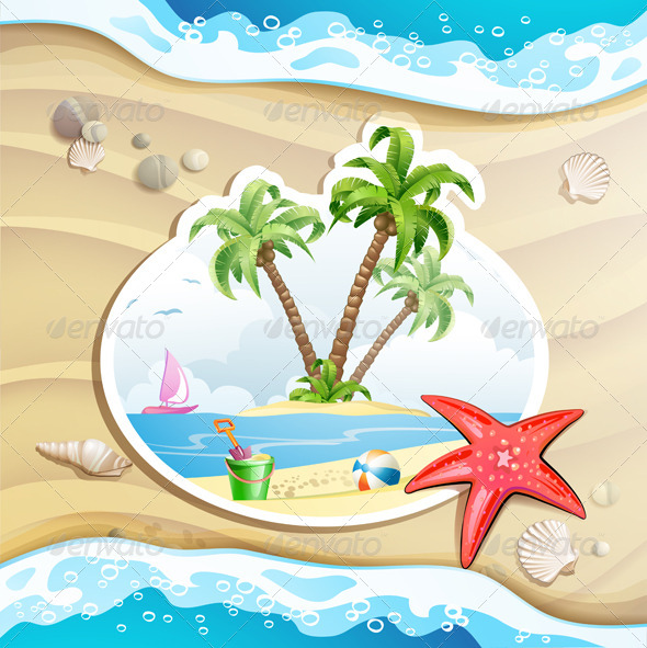 GraphicRiver Summer Beach with Palm Trees 5292880