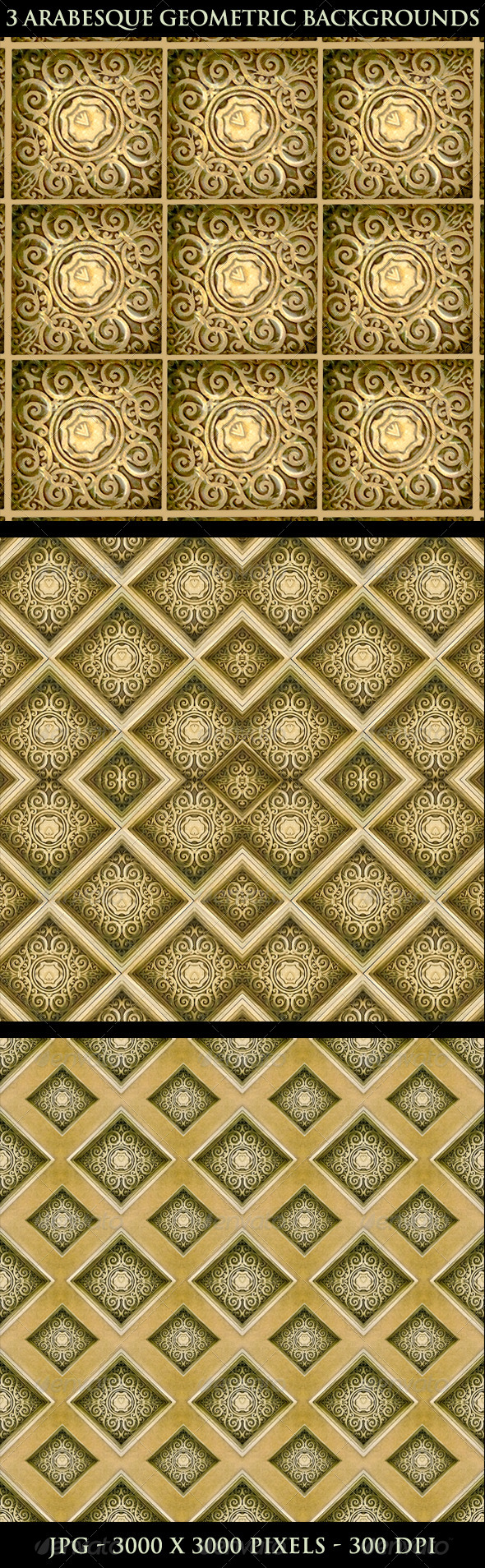 3 Arabesque Geometric Backgrounds