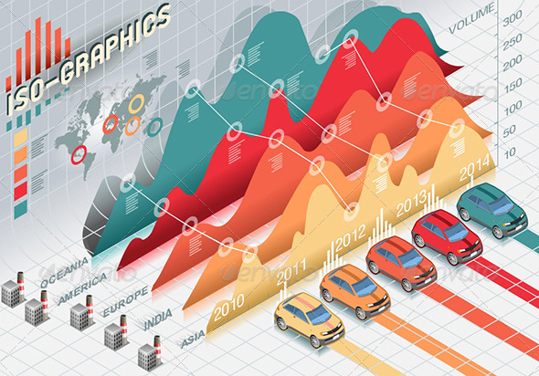 GraphicRiver Isometric Infographic Histogram Elements with Cars 5293150