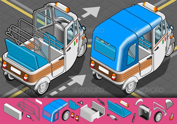 GraphicRiver Isometric Italian Rickshaw in Rear View 5293161