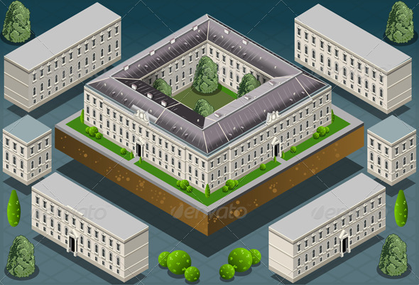 GraphicRiver Isometric European Historic Building 5293334