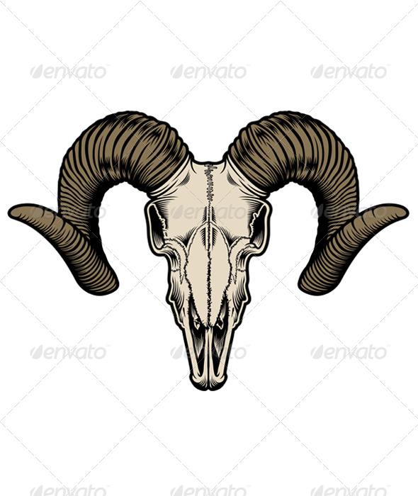 GraphicRiver Goat Skull Vector 5293559