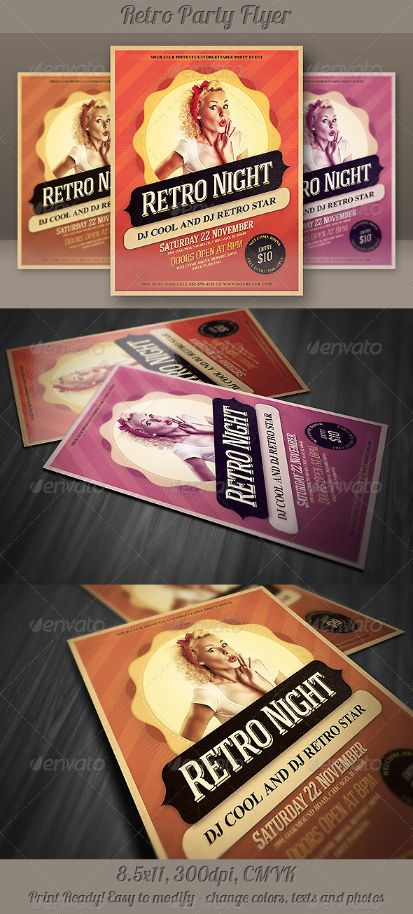 Retro Night Party Flyer - Print Templates