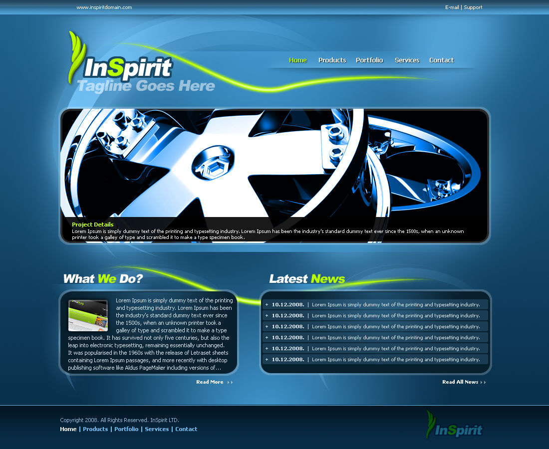 InSpirit Unique Layout - InSpirit Main Page Screenshot