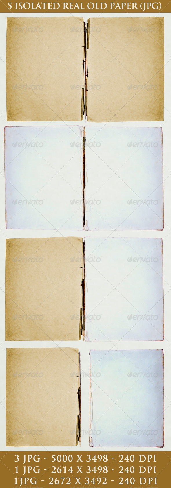 GraphicRiver 5 Isolated Real Old Paper 5294511