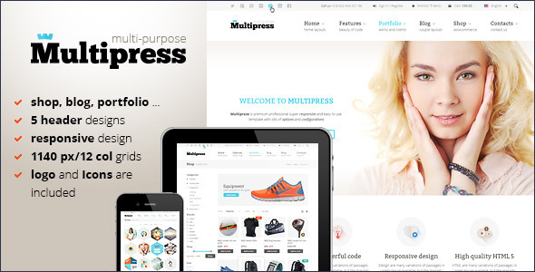 Multipress – PSD Template Multipress is a clean, responsive design site PSD template suitable for shop, business, personal or portfolio web sites. Templat