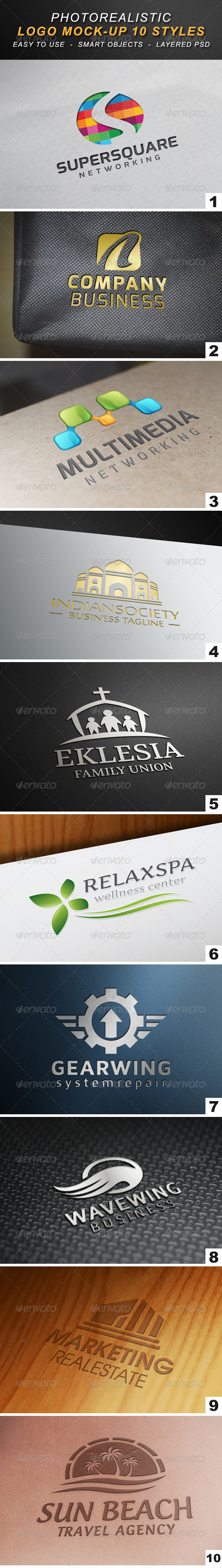 Photorealistic Logo Mock-Up 10 Styles