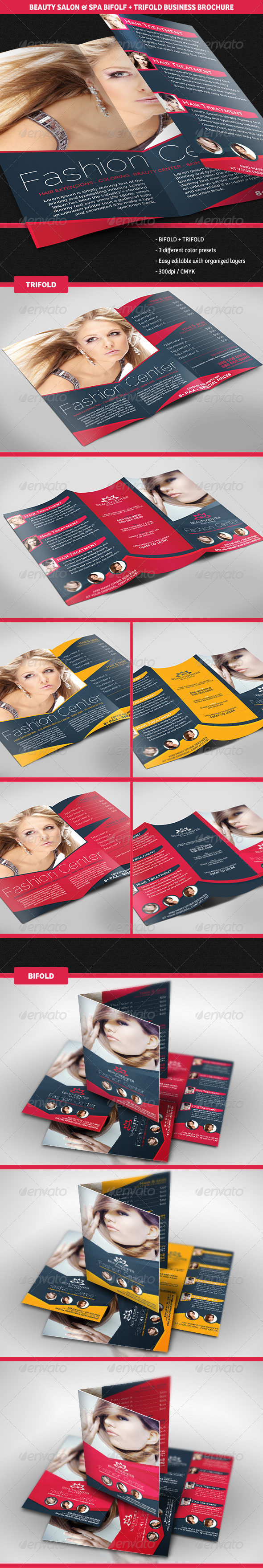 GraphicRiver Beauty Center Bifold & Trifold Business Brochures 5296210