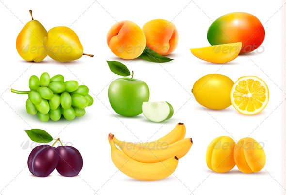 GraphicRiver Big Group of Different Fruit 5296239