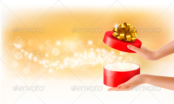 GraphicRiver Woman Holding a Red Gift Box on Holiday Background 5296258