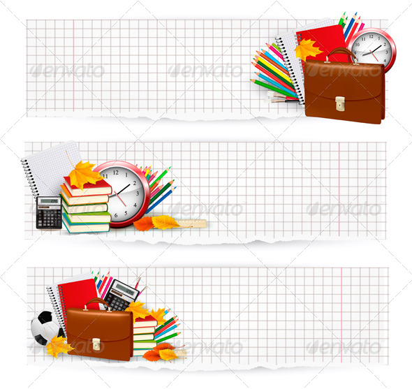 GraphicRiver Three Banners with School Supplies 5296494