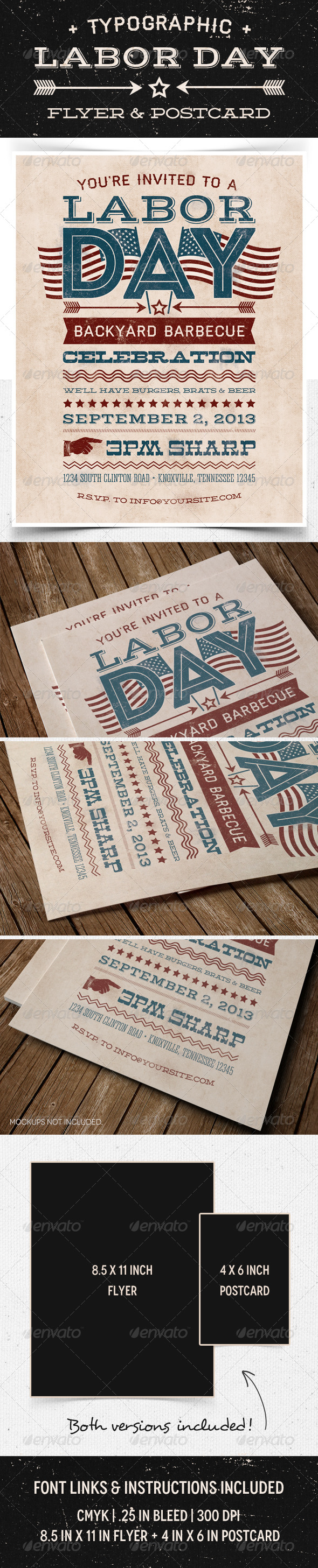 GraphicRiver Labor Day Flyer & Postcard 5296744