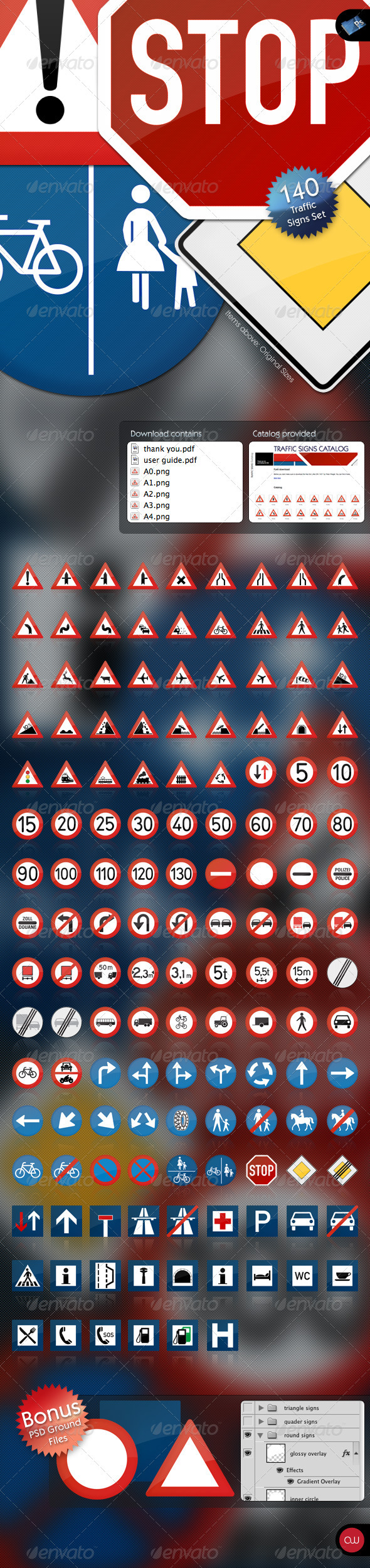 GraphicRiver 140 Traffic Signs Road Set Carbonized glossy 129171