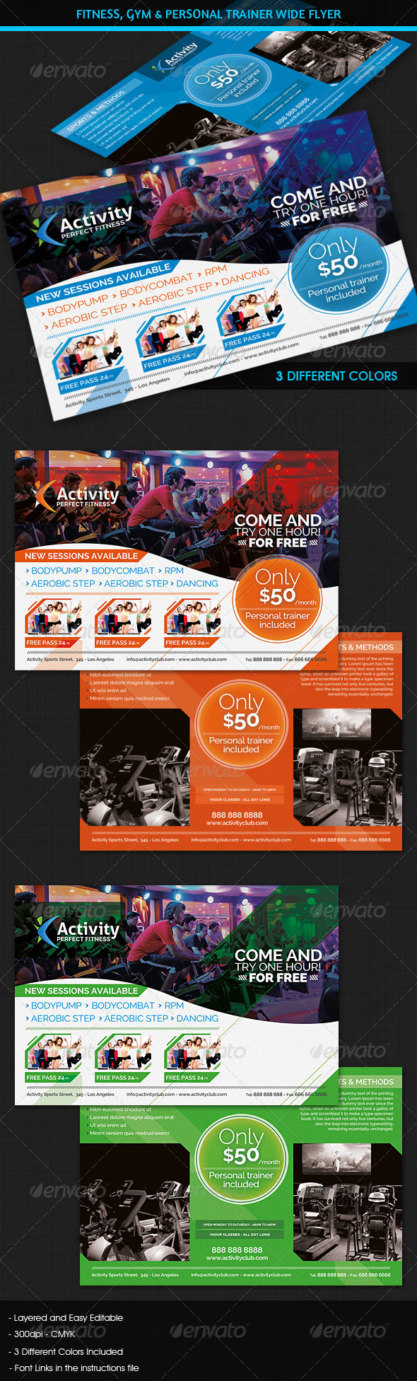GraphicRiver Fitness Gym & Personal Trainer Wide Flyer 5296904