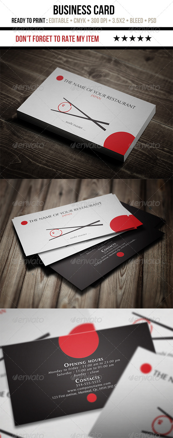 GraphicRiver Japanese Restaurant Business Card 5296905