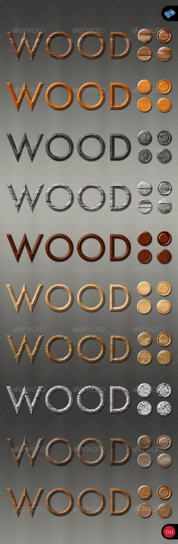 Graphic River Text & Effects Wood Styles Add-ons -  Photoshop  Styles  Text Effects 161277