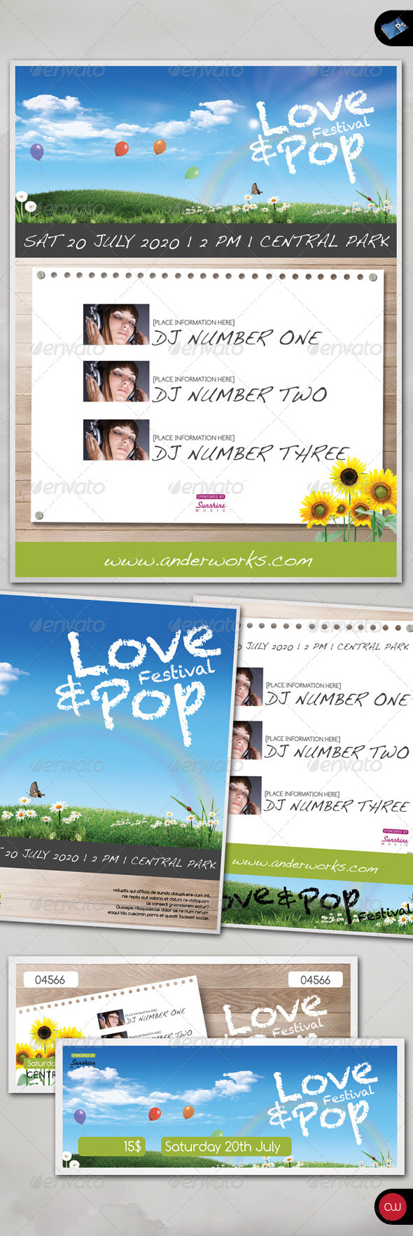 GraphicRiver Music & Event Flyer Love & Pop 411652
