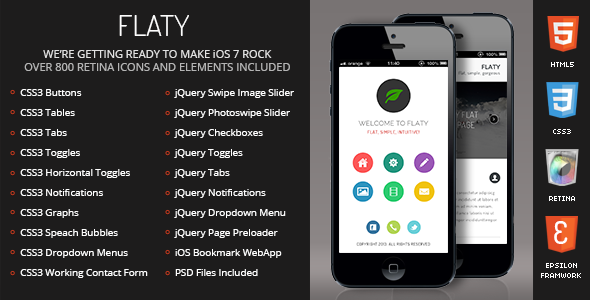 Flaty Mobile Retina | HTML5 & CSS3 And iWebApp - Mobile Site Templates