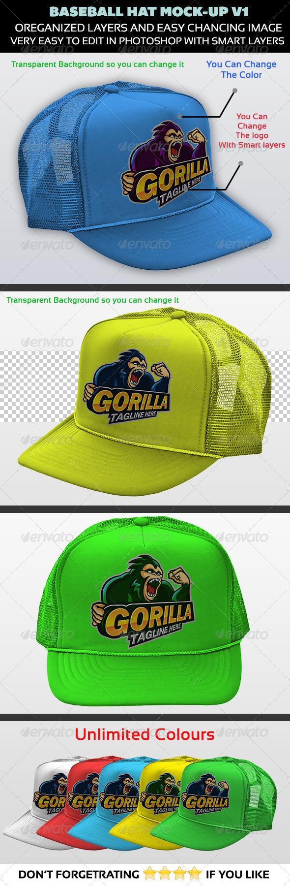 GraphicRiver Baseball Hat Mock-up V1 5298529
