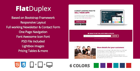 FlatDuplex Landingpage - Marketing Corporate