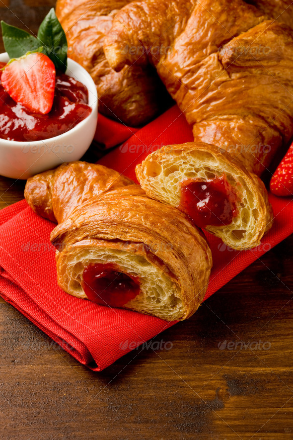 Croissants with marmelade - Stock Photo - Images