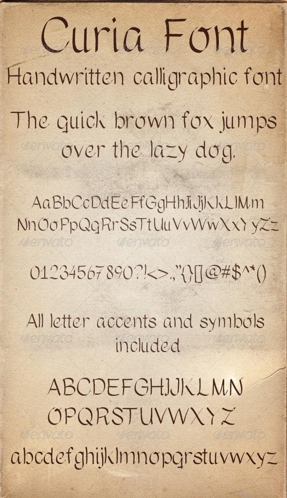 GraphicRiver Curia Handwritten Calligraphic Font 5298669