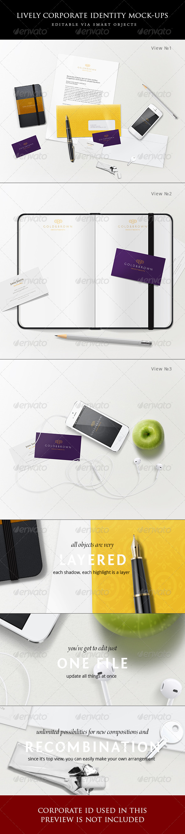 Lively corporate stationery/branding mock-ups  - Stationery Print