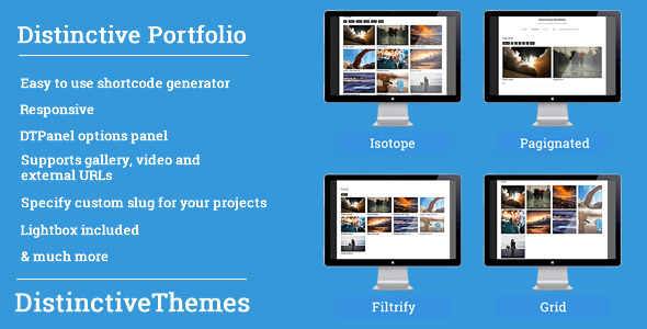 CodeCanyon Distinctive Portfolio 4 in 1 WordPress Portfolio 5275474