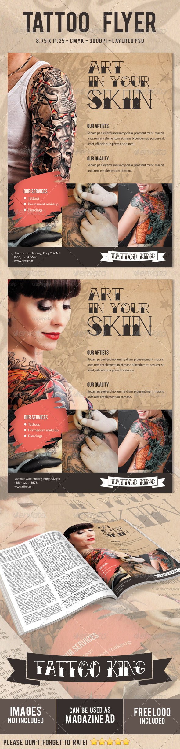 GraphicRiver Tattoo Flyer Print Ad 5243381