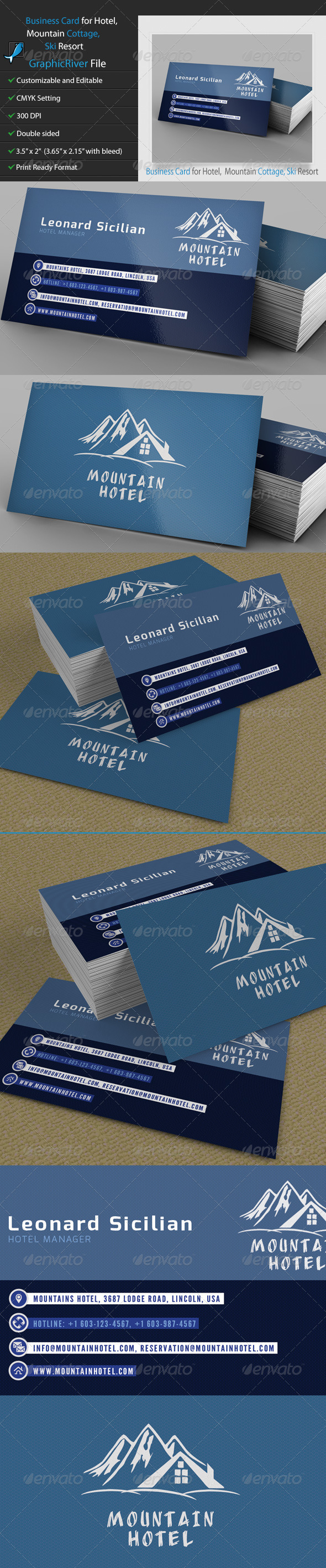 GraphicRiver Business Card for Hotel Mountain Cottage Ski 5244815