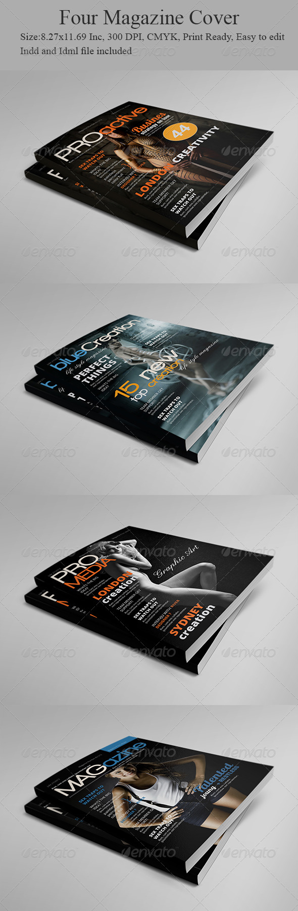 Four Magazine Cover Templates - Magazines Print Templates