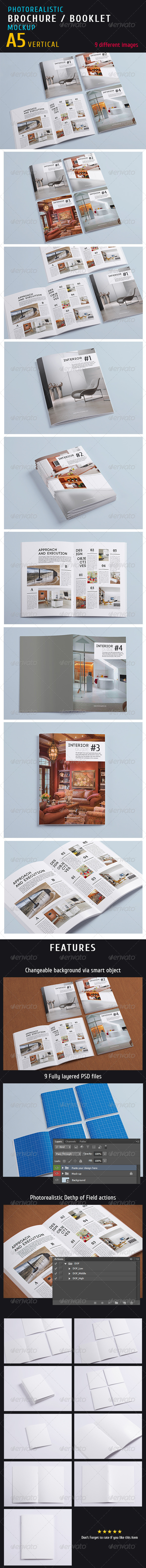 GraphicRiver Photorealistic a5 Magazine Mock-up 5301302