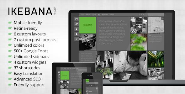 ThemeForest Ikebana Masonry WordPress Portfolio Theme 5295994