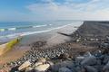 Westward Ho pebble beach and coastline Devon UK