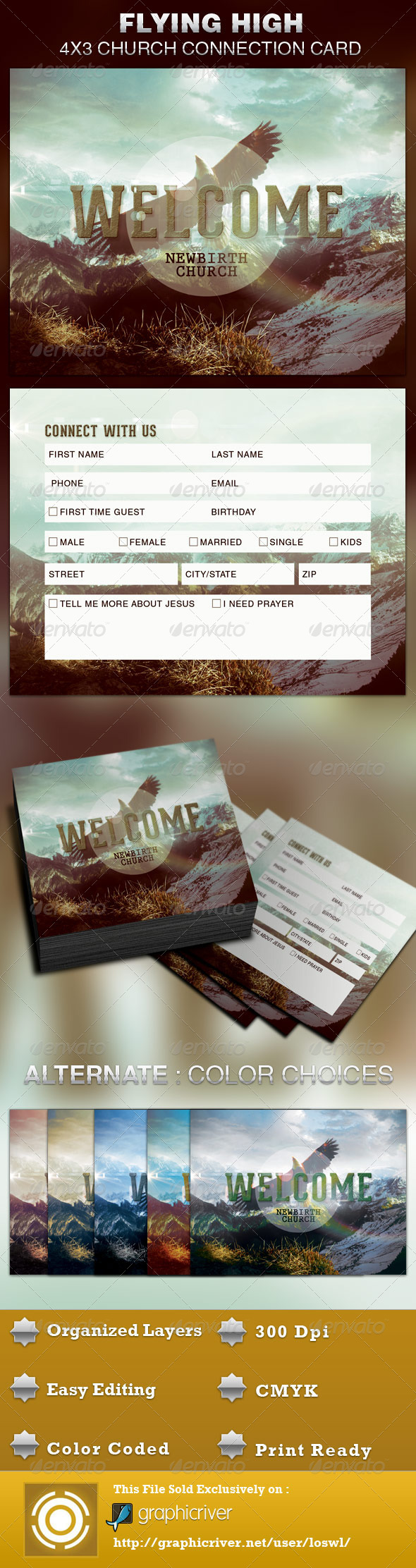 flying high church connection card template graphicriver