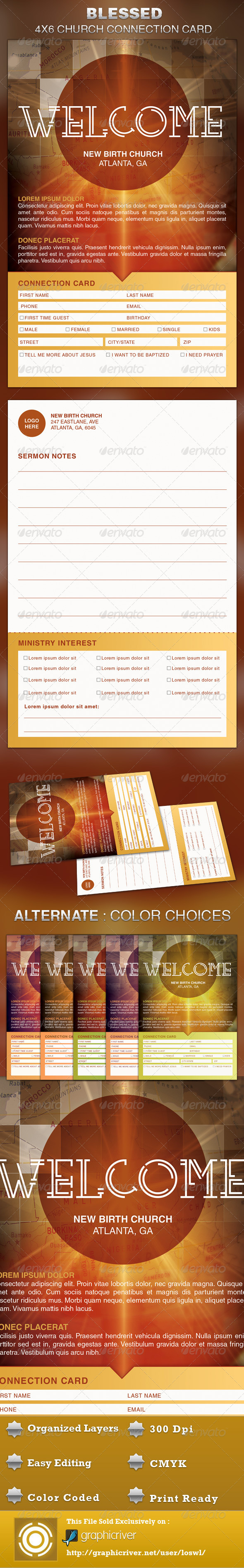 GraphicRiver Blessed Church Connection Card Template 5301984