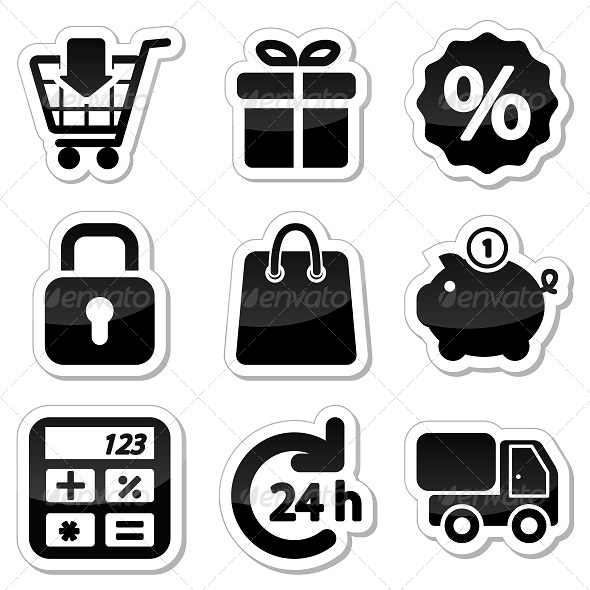 GraphicRiver Shopping Icons on Stikers 5302827