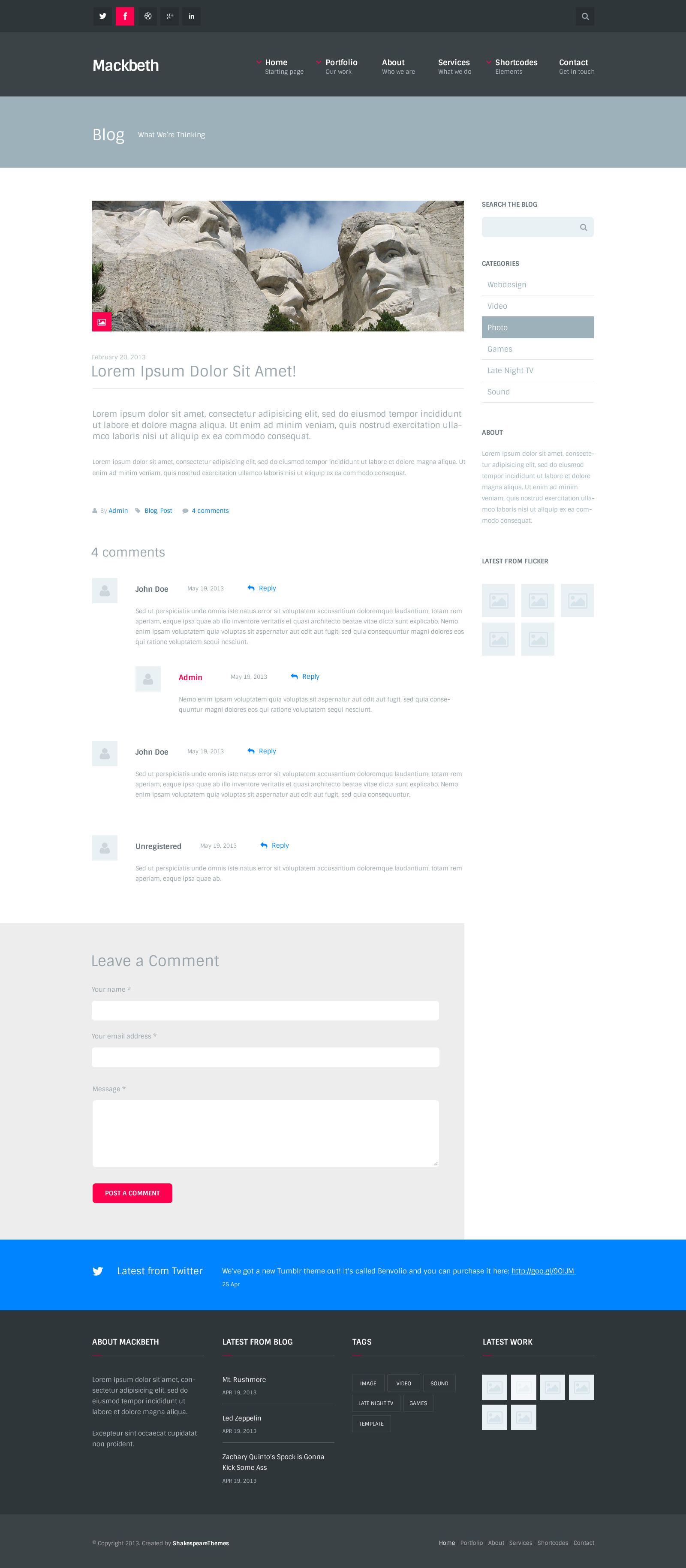 Mackbeth - Multipurpose PSD Template