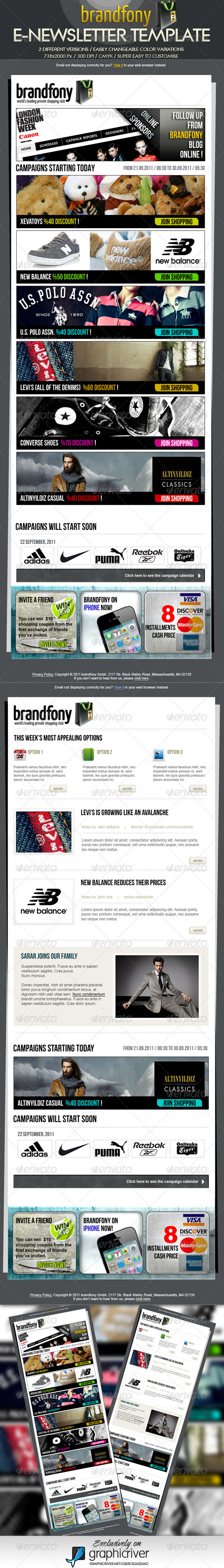 Brandfony E-Newsletter Template - E-newsletters Web Elements