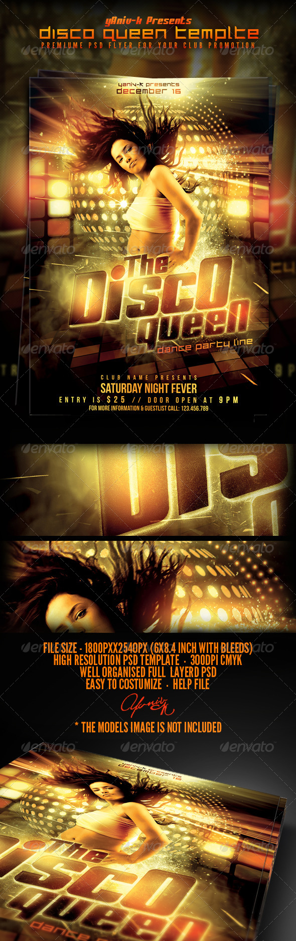 Disco Queen Flyer Template - Clubs & Parties Events