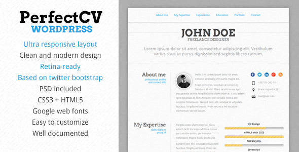 ThemeForest PerfectCV Responsive CV Resume Theme 5230603