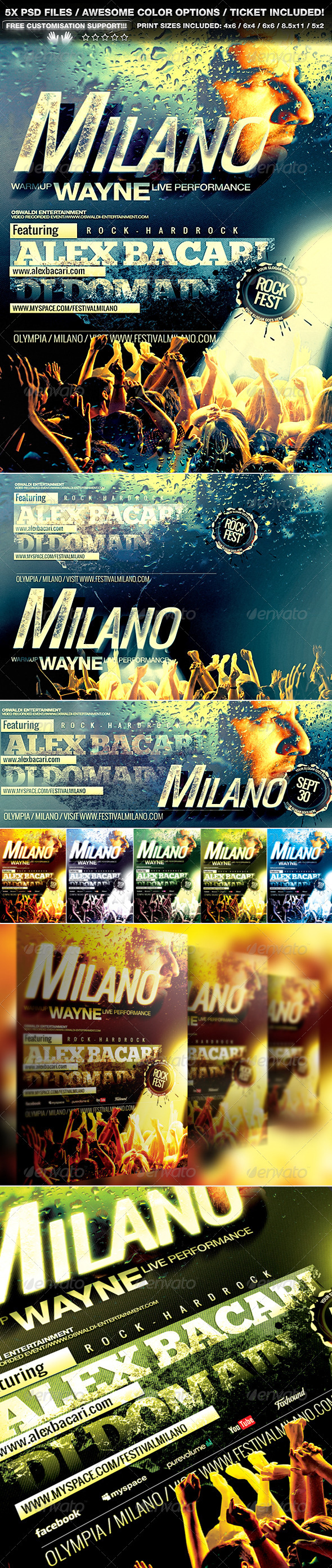 GraphicRiver Milano Flyer Poster Set & Ticket 5238632