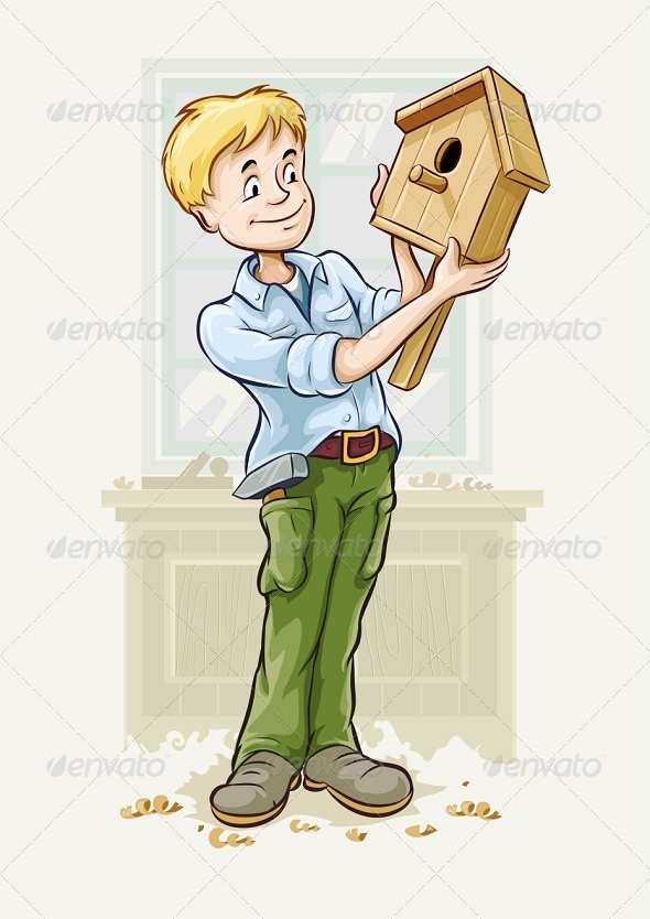 GraphicRiver Boy with a Starling-House in his Hands 5304791