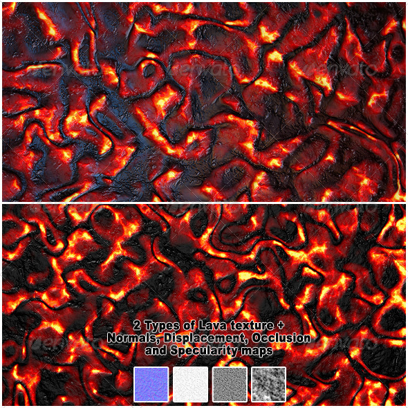2 Types of HQ Lava / Magma Textures - 3DOcean Item for Sale