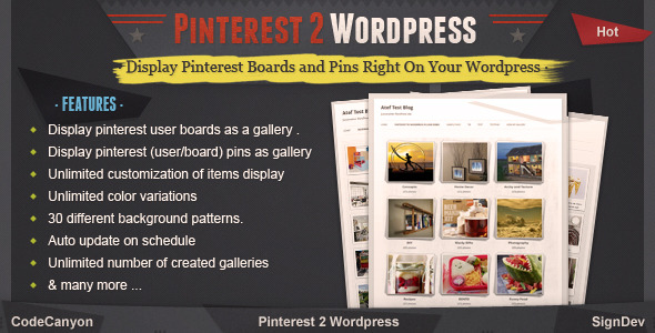 Last update: 26 OCT 2013. Version: 1.0.3 Platform: for Wordpress. Pinterest to wordpress plugin Provide the complete solution to integrate your pinterest accoun