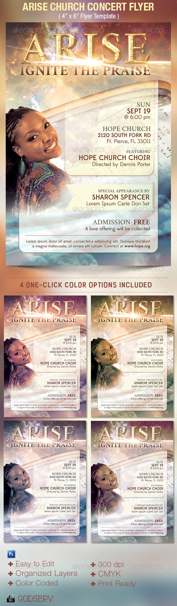 GraphicRiver Arise Church Concert Flyer Template 5305863