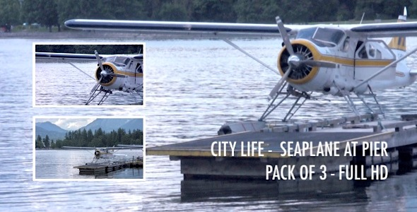 City Life Seaplane at Pier Pack of 3