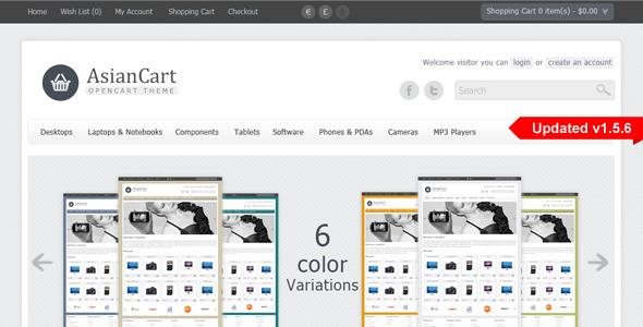 Theme de Comecio Electrónico para OpenCart AsianCart